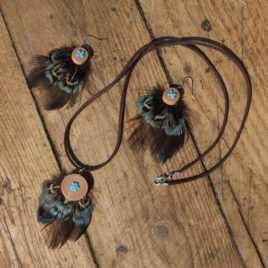 Set cercei si pandantiv cu pene de fazan verzui