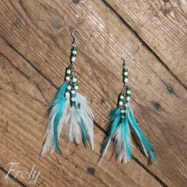 Cercei cu pene alb-turquoise