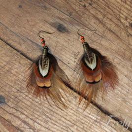 Cercei cu pene de fazan maro-roscat