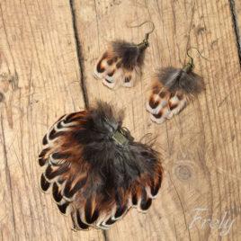 Set cercei si pandantiv cu pene de fazan 2