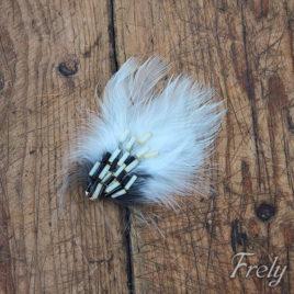 Clama de par pene alb-negru cu margele