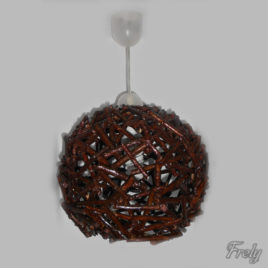 Lustra tip pendul cu abajur sferic de lemn